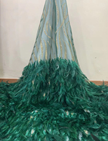 African 3d Feather Lace Fabric 2019 latest high quality Nigerian lace fabrics French sequin lace fabric for dress W089