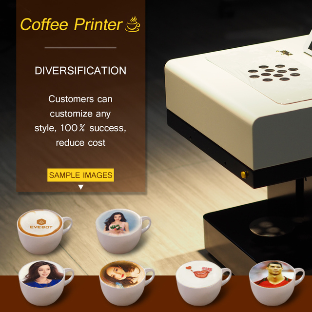 Colorsun Coffee printer Automatic Selfie Print Machine Food Printers Coffee printing machine with edible ink