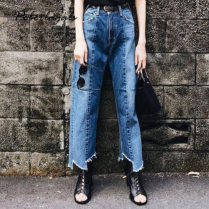 New Summer Denim jeans woman bottoms 2017 Cowboy wash stitching irregular wide leg pants female Casual jeans pants capris womens inc international concepts petite new diva wash skinny leg jeans 6p $69 5