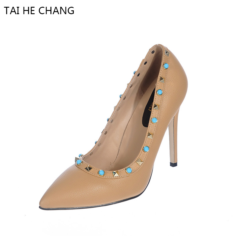 2017 New Pumps Rivets Gem Sexy Shallow Mouth With High Thin Heels Women Shoes Autumn and Spring Europe American Style women silver black rhinestone high heels with spikes sexy women pumps with spikes rivets crystal evening shoes with spikes