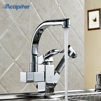 Torneira Cozinha.Polished Chrome Brass Double Spouts 360 Degree&Pull Out Kitchen Faucet.Kitchen Tap Sink Mixer. XK 014
