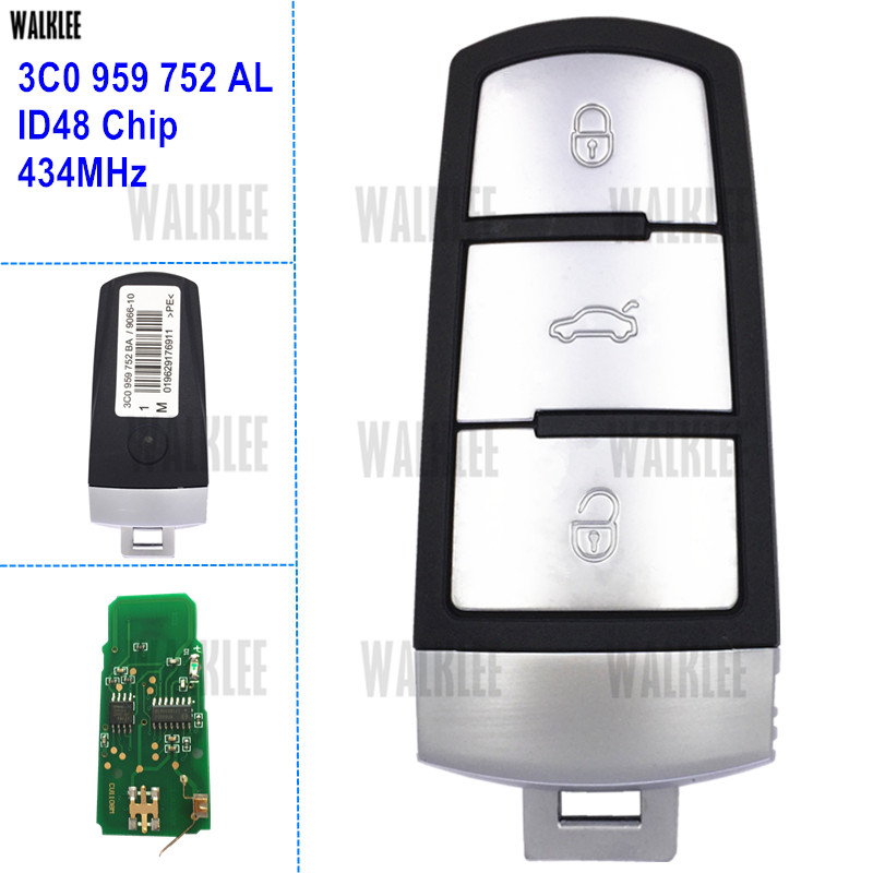 WALKLEE 3C0959752AL Car Remote Smart Key fit for VW/VOLKSWAGEN PASSAT/CC/MAGOTAN 3C0 959 752 AL 202AL 434MHz car data can bus gateway diagnosis interface for volkswagen vw passat b6 cc 3c0 907 530 l