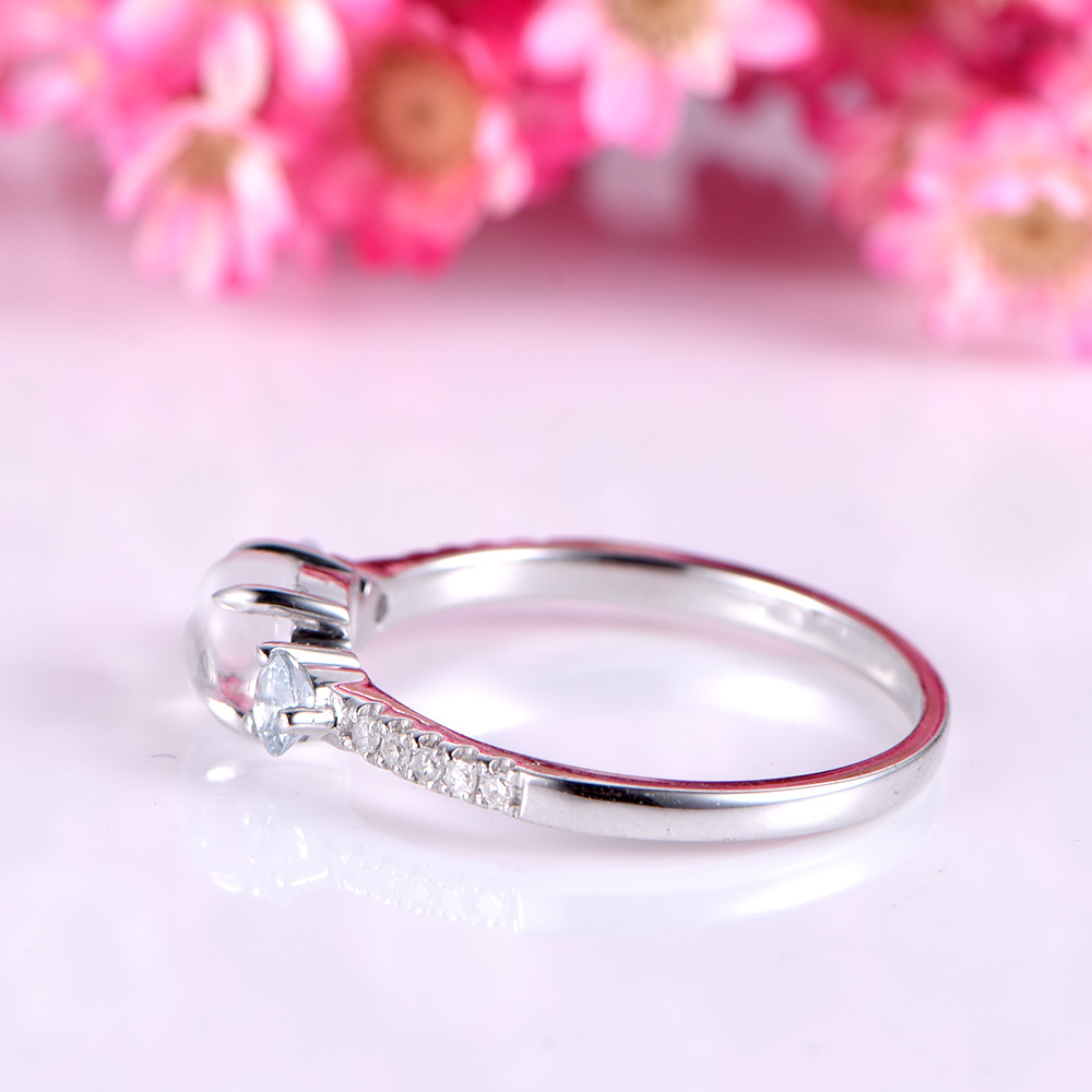 Natural moonstone Engagement Ring 14k white yellow rose gold ...