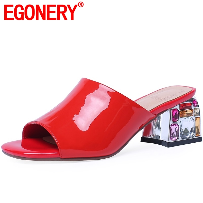 EGONERY ruby Genuine Patent leather womans Slides summer sexy fashion girl Outside green Crystal high heels shoes plus sizeEGONERY ruby Genuine Patent leather womans Slides summer sexy fashion girl Outside green Crystal high heels shoes plus size