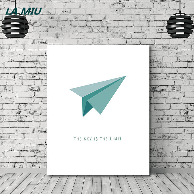 Hot Style Paper Airplane Canvas Painting Nordic Minimalism Flying