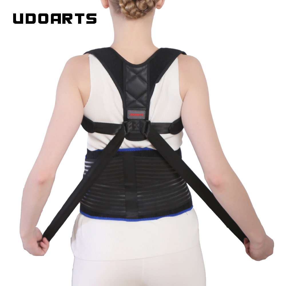 Orthèse de correction de Posture de soutien dorsal réglable Udoarts avec attelles en acier amovibles