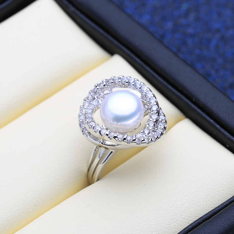 FENASY 925 Sterling Silver Ring Natural Freshwater Pearl Rings For Women Party Pearl Jewelry Bohemian Engagement ring New
