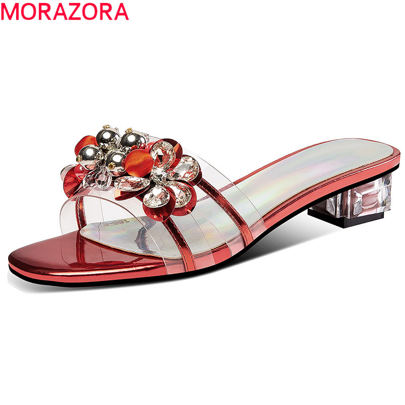 MORAZORA 2019 new style outside slipper women genuine leather shoes bead low heels shoes casual summer footwear big size 42-in Slippers from Shoes    1