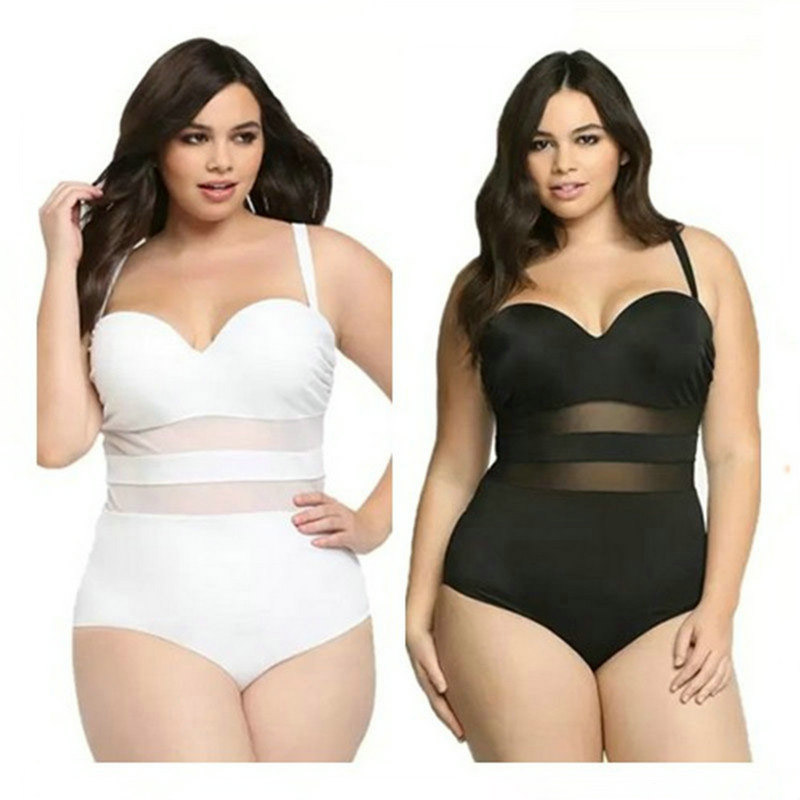 Aipbunny <font><b>Sexy</b></font> Mesh Plus large Size 4XL One Piece Monokini Swimsuits bathing suit Swimwear Women <font><b>2017</b></font> Bikini <font><b>high</b></font> waist bodysuit image