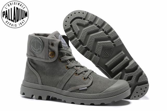 f1664f630 البلاديوم Pallabrouse جميع رمادي رياضية الرجال عالية أعلى حذاء من الجلد  العسكرية قماش حذاء كاجوال الرجال