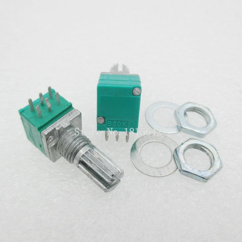 5 шт./лот 6-контактный RK097G двойной потенциометр B50K с переключателем аудио/усилитель мощности/уплотнительный потенциометр длина ручки 15 мм