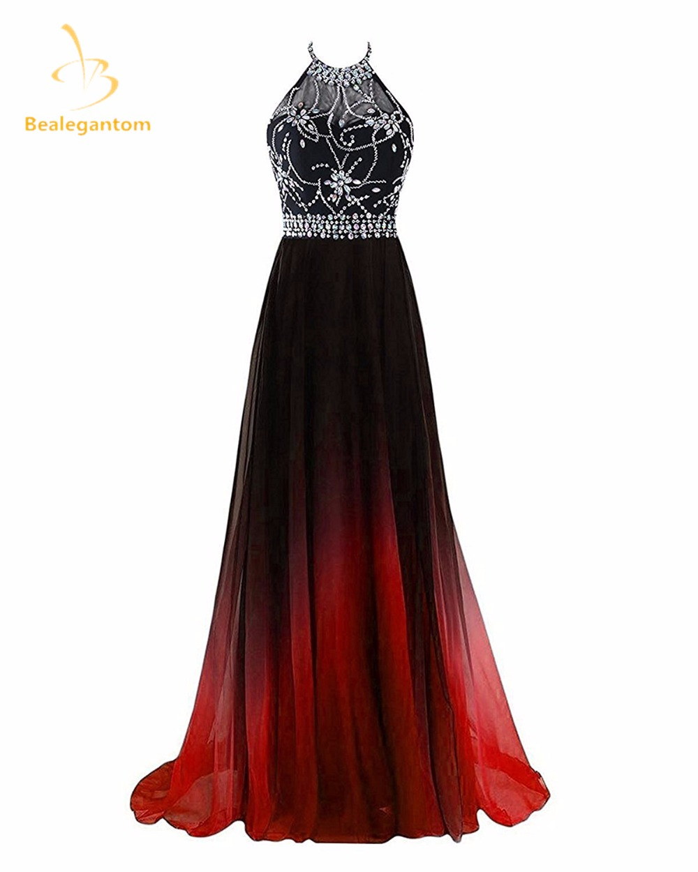 Bealegantom Halter Gradient Prom Dresses 2019 With Long Chiffon Plus Size Ombre Evening Party Gowns Vestido Longo QA1231