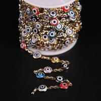5Meters,8mm Multicolor Evil Eye Lampwork Bead Rosary Chain,Colourful Drip Oil Coin Glass bead Gold Chain Charms Crafts Necklace