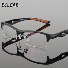 BCLEAR Marco de gafas para hombre, diseño distintivo, marca cómoda, TR90, medio Marco, cuadrado, deportivo