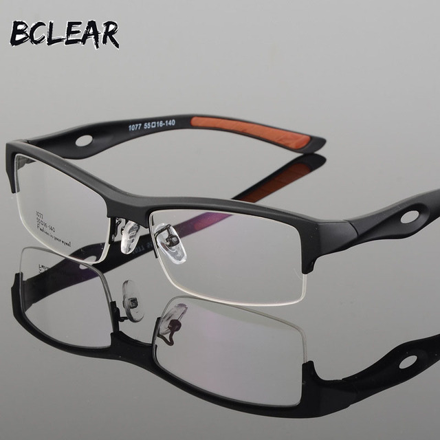 ec167ecafad BCLEAR Spectacle Frame Attractive Mens Distinctive Design Brand Comfortable  TR90 Half Frame Square Sports Glasses Frame