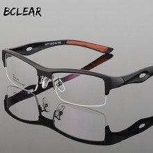 BCLEAR gözlük çerçevesi çekici erkek ayırt edici tasarım marka rahat TR90 yarım çerçeve kare spor gözlükler çerçeve gözlük