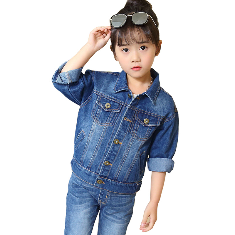 Girls Denim Jackets 2018 Fashion Children Jeans Jacket Spring Autumn Girls Denim Outerwear Kids Jacket Coat DQ562