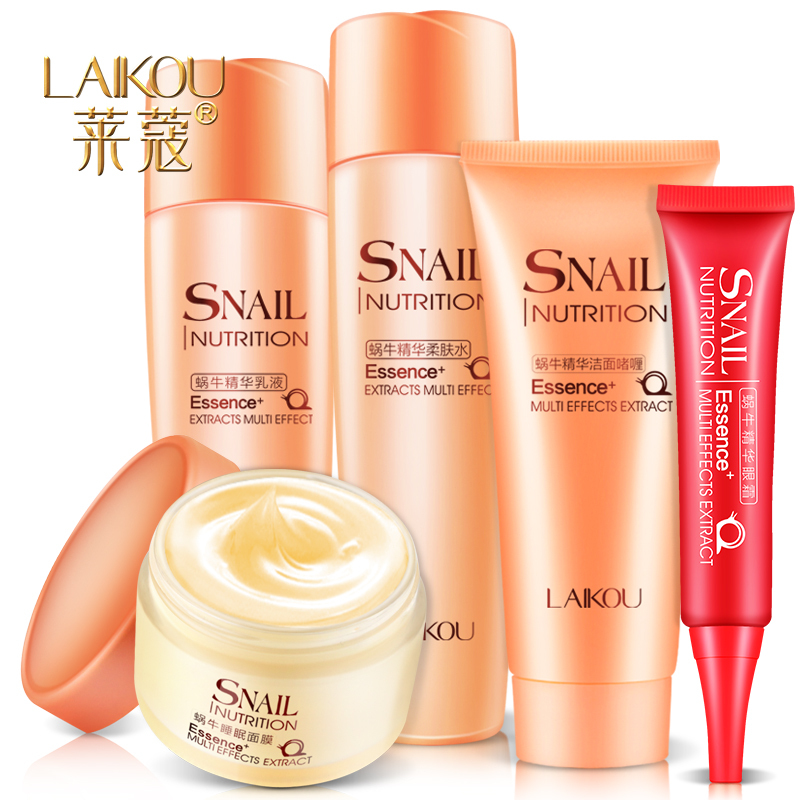 Snail Extract Cream Skin Care Cosmetics Laikou 5pcs Set Whitening Moisturizing Anti-aging Anti Wrinkle Moisturizing Face Care hankey new brand snail essence face cream skin care whitening moisturizing oil control anti aging anti wrinkle natural beauty