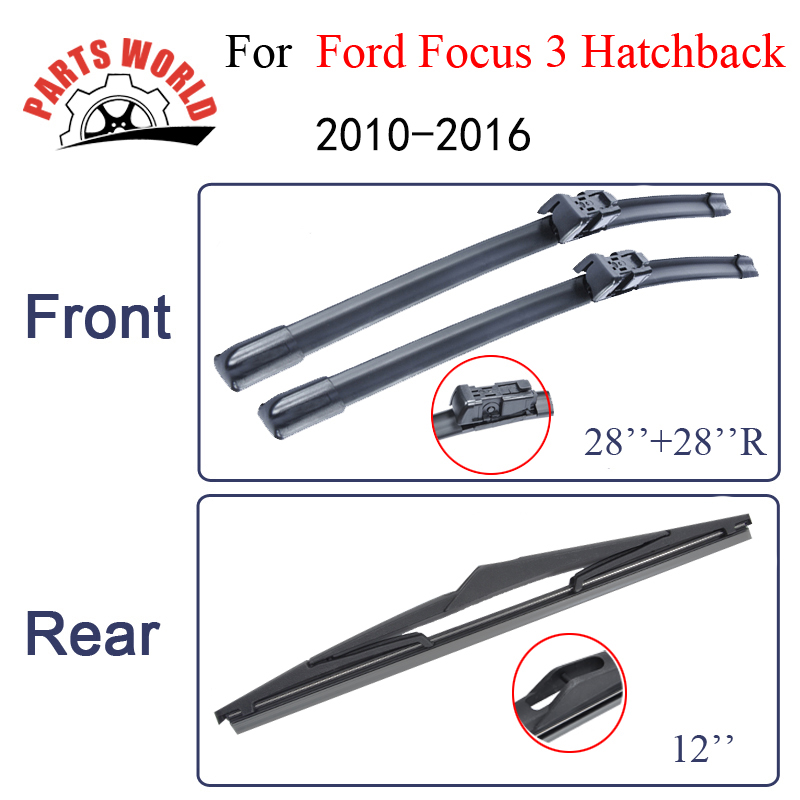 Partsworld Wiper Blades For Ford Focus 3 Hatchback 2010-2016 Front And Rear Nature Rubber Auto Windscreen Car Accessories