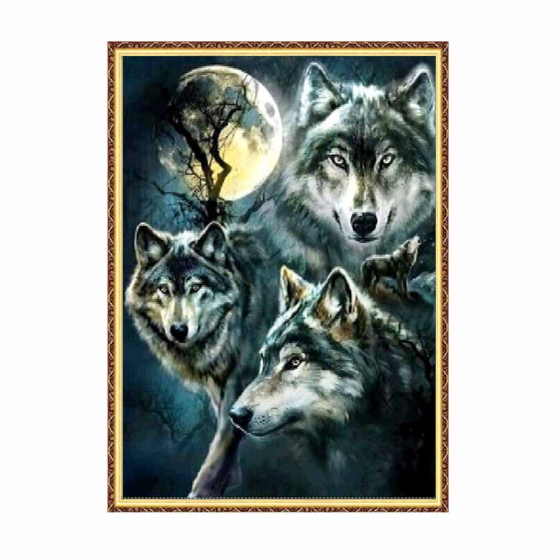 <font><b>5d</b></font> diamant malerei tier volle runde bohrer <font><b>wolf</b></font> diy mosaik daimond stickerei kreuz stich kit home decor kunst image