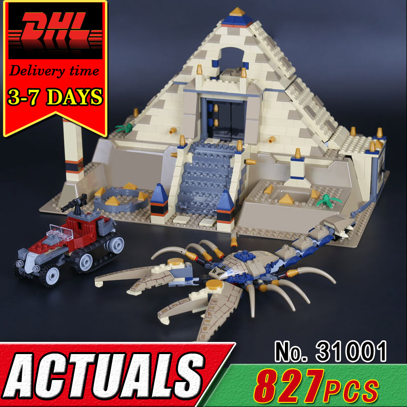 DHL LEPIN 31001 Egypt Pharaoh The Scorpion Pyramid Model Building Blocks Set Compatible 7327 Children Brick Classic Toy Kid Gift lepin 02012 city deepwater exploration vessel 60095 building blocks policeman toys children compatible with lego gift kid sets