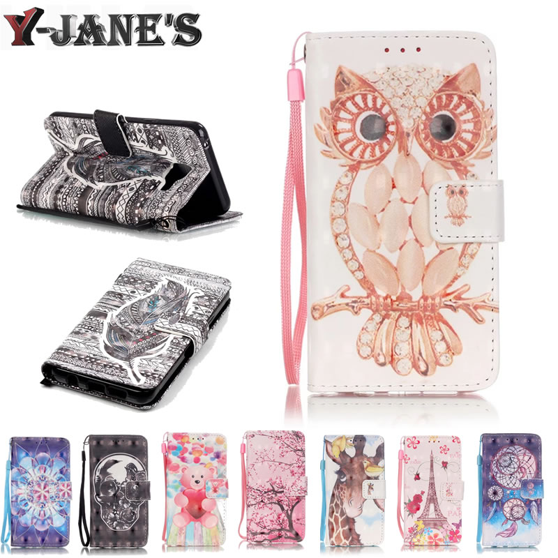 High quality Phone Cases Case Luxury 3D Beautiful Patterns PU Leather Wallet Stand Function Card Slot For iphone 7 7G Case