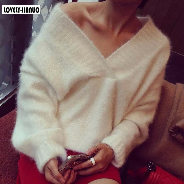 100 Genuine mink cashmere sweater women s Plush pure mink sweaters pullovers sweater basic coat free