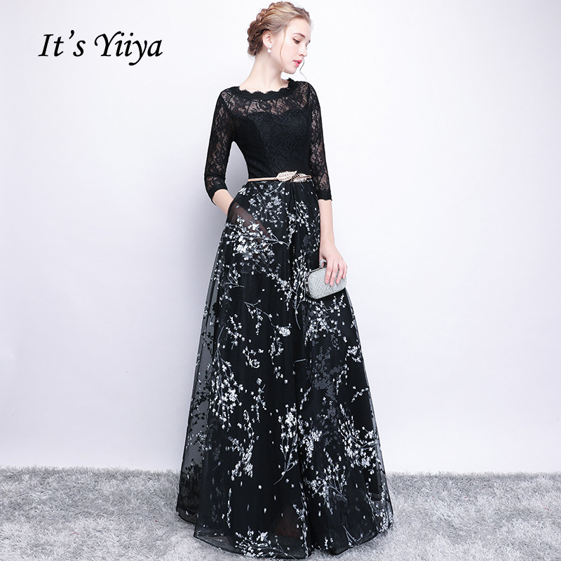 It's YiiYa Half Sleeves Bow Floral Print Elegant Lace A-line Zipper Dinner Party Frocks Dress Floor Length Evening Dress YS009