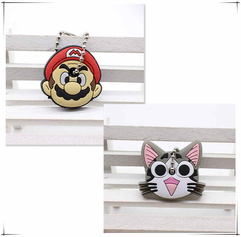 2 PCS bonito Dos Desenhos Animados Anime chaveiro tampa chave tampa do teclado de Silicone mulheres olá kitty Minnie Anel chave Chaveiro carro proteger porte clef