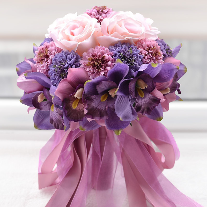 Send The Bride Holding Flowers Purple Pink Wedding Groom European Style Bouquet Girlfriends Gift In Bouquets From Weddings