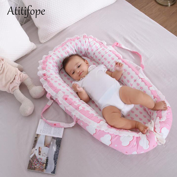 85*50*10cm Baby Cotton Foldable Bed Removable Newborn Crib Portable An Crown Bionic Folding Washable baby crib