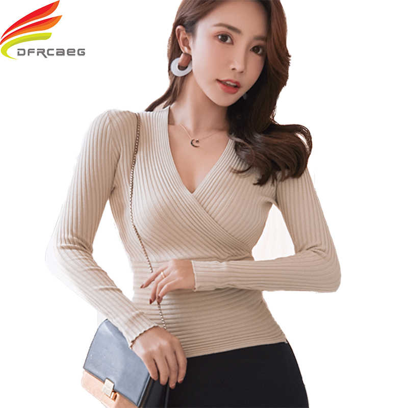 2019 New Sexy Deep V Neck Sweater Women's Pullover Casual Slim Bottoming Sweaters Female Elastic Cotton Long Sleeve Tops Femme
