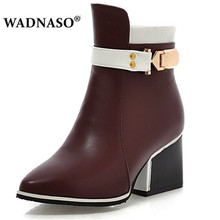 WADNASO Women High-Heels Martin Boots Autumn Winter Warm New Sexy Fashion Pu Zip Ankle Chelsea Motorcycle Pointed Toe 43