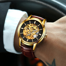 LIGE men watches top brand luxury Business Automatic Mechanical Watch Openwork Men's Watchs Golden Watch Waterproof Mens Clock
