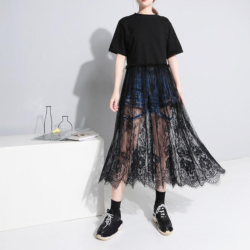[EAM] 2020 Spring  Summer Fashion New Women Casual Loose Short Sleeve Shirt Lase Hem Patchowrk O-neck Mid-calf Dress LA107