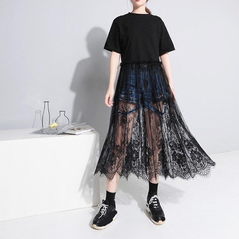 [EAM] 2020 Spring  Summer Fashion New Women Casual Loose Short Sleeve Shirt Lase Hem Patchowrk O-neck Mid-calf Dress LA107