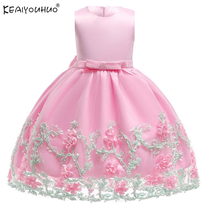 Цветок свадебное платье для девочек элегантное летние дети Платья для девочек, одежда Платья принцессы 1 для 2, 3, 4, 5, 6, 7 лет Платье для малень...