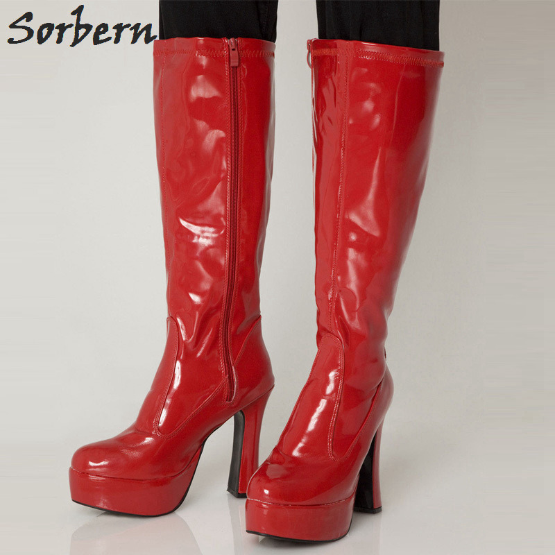 Sorbern 2018 Women Boots Fashion 12CM Chunky Heel +4CM Platform GOGO Boot Knee High Shoes Sexy Round Toe Zipper Woman Shoes