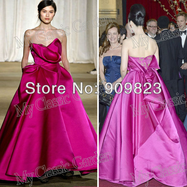 2013 Sweetheart Golden Applique Ball Gown A Line Bingbin Fan Magenta ...