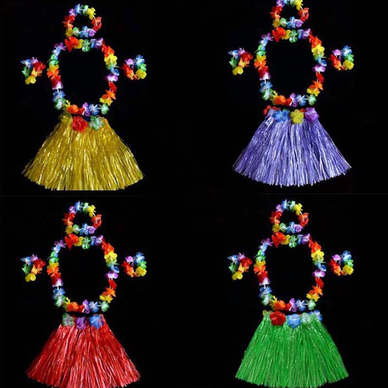 New 30cm Length Hawaiian Flower Hula Lei Garland Wreath Headband Wristband Skirt Party Favors    Birthday