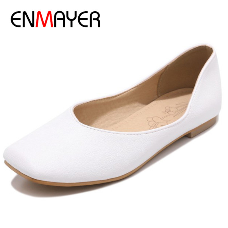 ENMAYER White Shoes Woman Loafers Flats Big Size 34-47 Shallow Flat Round Toe Slip-on Casual Shoes Office Ladies Party Wedding white lace flower wedding shoes woman flat heel round toe slip on spring autumn plus size 40 41 woman s wedding flats shoes