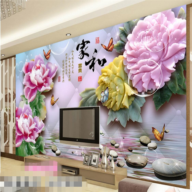 beibehang wall murals wall stickers jade carving reflection peony TV backdrop wall papel de parede wallpaper for walls 3 d
