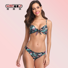 Under Printed Pure Color Bikini Wear Sexy Push Up Molded Cup Swimsuit 5 Colors Available Beach Wear Tide Knot Front Biquini Set недорого