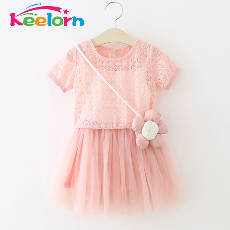 Keelorn Girls Dresses 2017 Summer Style Princess Dress Flowers decorated Tulle Dresses Fashion Girls Clothes Children