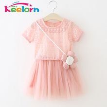Keelorn Girls Dresses 2017 Summer Style Princess Dress Flowers decorated Tulle Dresses Fashion Girls Clothes Children Clothing