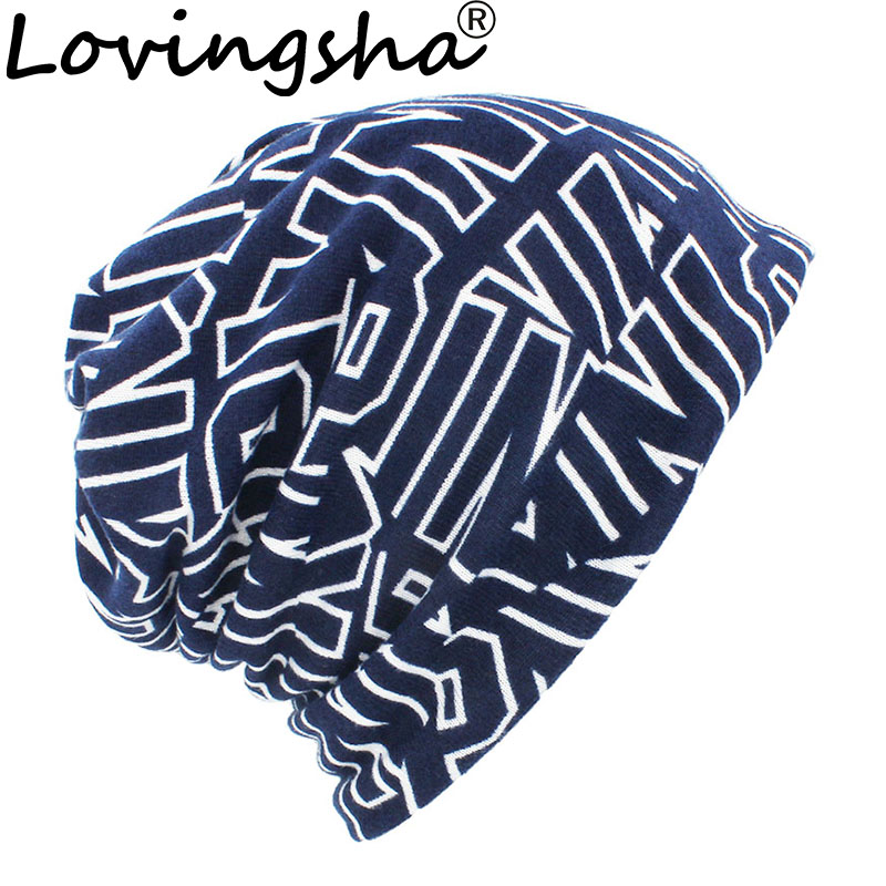 LOVINGSHA Autumn Winter Letter Design Hats For Men Thin Hat Multifunction Women   Skullies     Beanies   Fashion Feminino Scarf HT114
