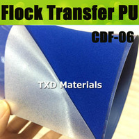 CDF 06 Blue Flocking transfer PU VINYL FILM, heat transfer flock vinyl for garment with size:50*100cm/lot
