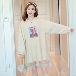 Новая мода печати сетки шить платье для беременных мода с рисунками героев мультфильма головы для беременных свитер для женщин