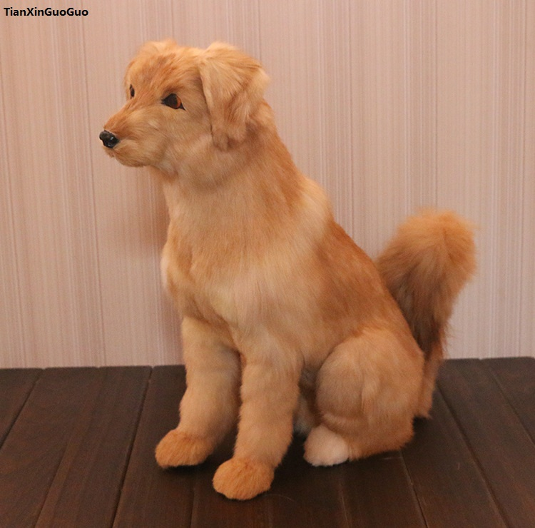 large 43x46cm simulation dog squatting Golden Retriever hard model polyethylene&furs handicraft home decoration gift s1500 simulation horse large 36x34cm hard model polyethylene