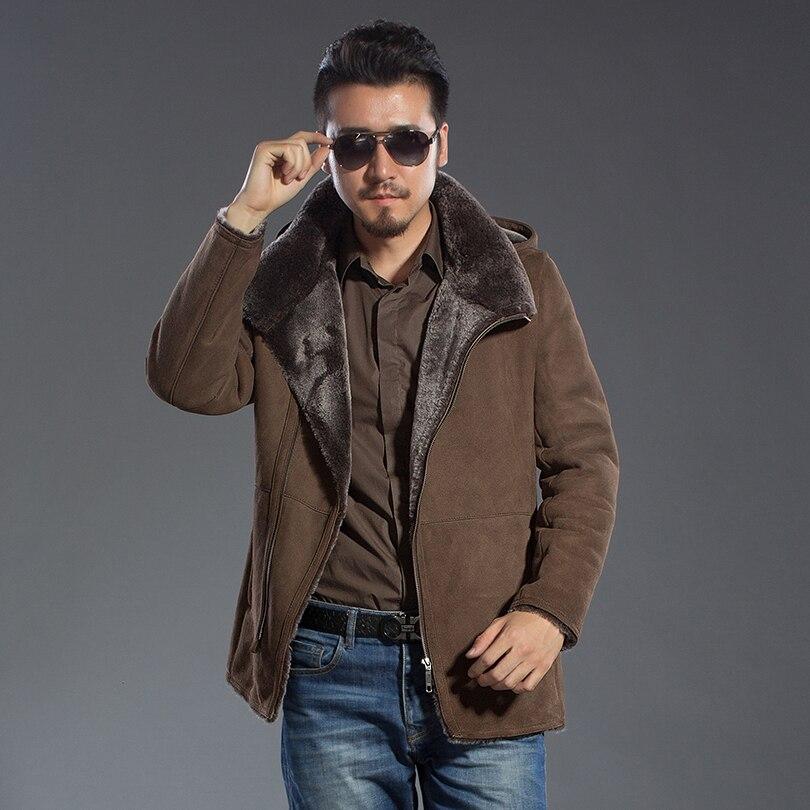 Genuine Sheepskin Winter Warm Fur Hooded Jacket Men Casual Fashion Brown Fur Collar Leather Overcoat New Tops Male Jacket Coat